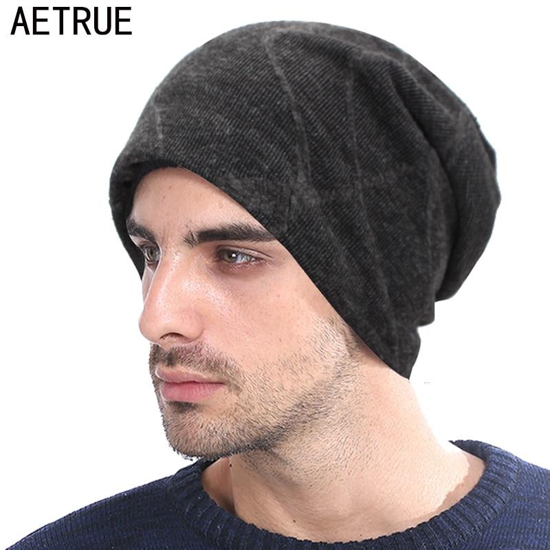 AETRUE Knitted Hat   Skullies     Beanies   Men Winter Hats For Men Women Bonnet Fashion Caps Warm Baggy Soft Balaclava Wool   Beanie   Hat
