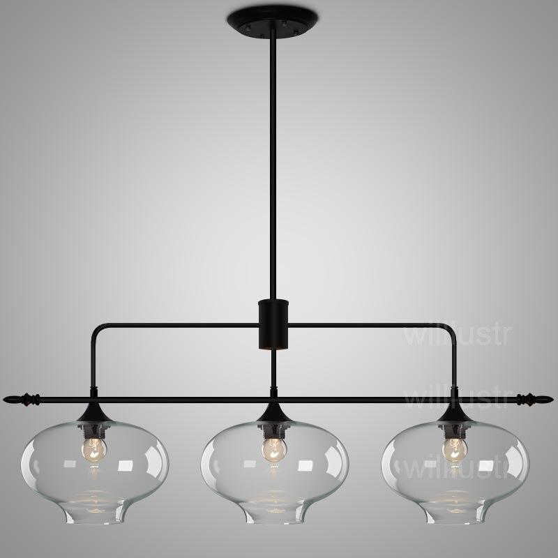 Willlustr moderne en verre pendentif lumière suspendus lumières salle à manger restaurant suspension lampe bouche soufflé d'éclairage en verre clair