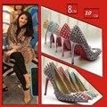 Plus Size 34-42 Big Size High Heel Rivets Lady Dress Shoes Fashion Point Toe High Heeled Pumps Woman Footwears 2 Colours V064