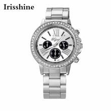 Irisshine i890 homens Relógios presente presente de luxo da marca Homens Clássico Aço Inoxidável Quartzo Analógico Relógio De Pulso com Diamantes