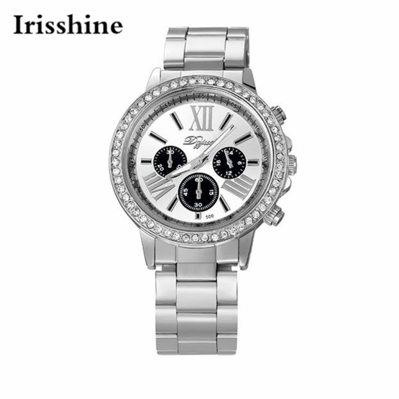 Irisshine men Watches high quality brand luxury gift Men Classic Analog Quartz Stainless Steel Wrist Watch with Diamonds #05 2016 new high quality women dress watch crrju luxury brand stainless steel watches fashion wrist gift watch men wristwatches