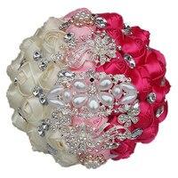 Marfim Pink Rose Red Satin Roses Wedding Bouquet Luxury Crystal Brooches Bride Wedding Bouquet de mariage Flowers DIY W245