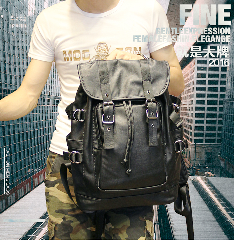 051018 new hot man fashion leather travel backpack student school bag 6