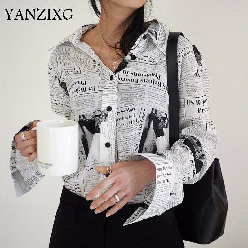 Wkoud  Clothes / 2019 New Fashion Long Sleeve Black White Letter Newspaper Print Loose Casual Shirt Women's Blouse Z273