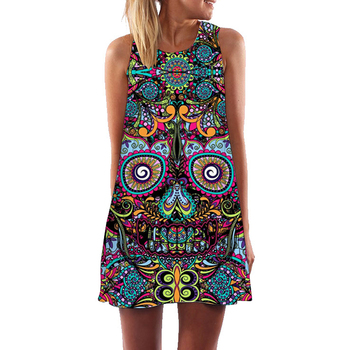 2018 New Skull Dress Women 3D Print Sleeveless Summer Mini Dress Boho Beach Club Party Dresses Casual A-Line Dress Dropship 1