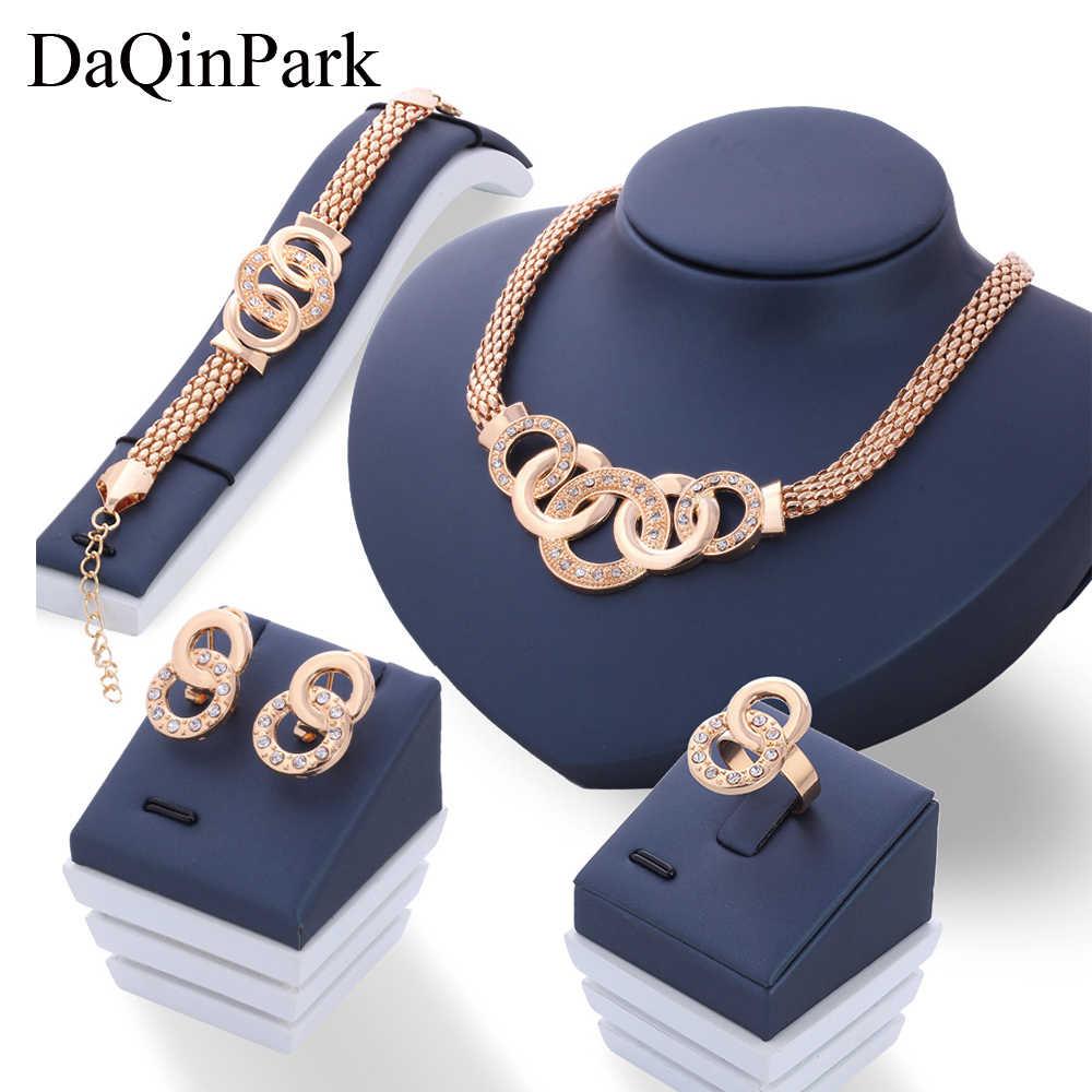 Neue Vintage Hochzeit Schmuck Sets Afrikanische Perlen Erklärung Halskette Ohrringe Armband Ring Frauen Hochzeit Party Zubehör