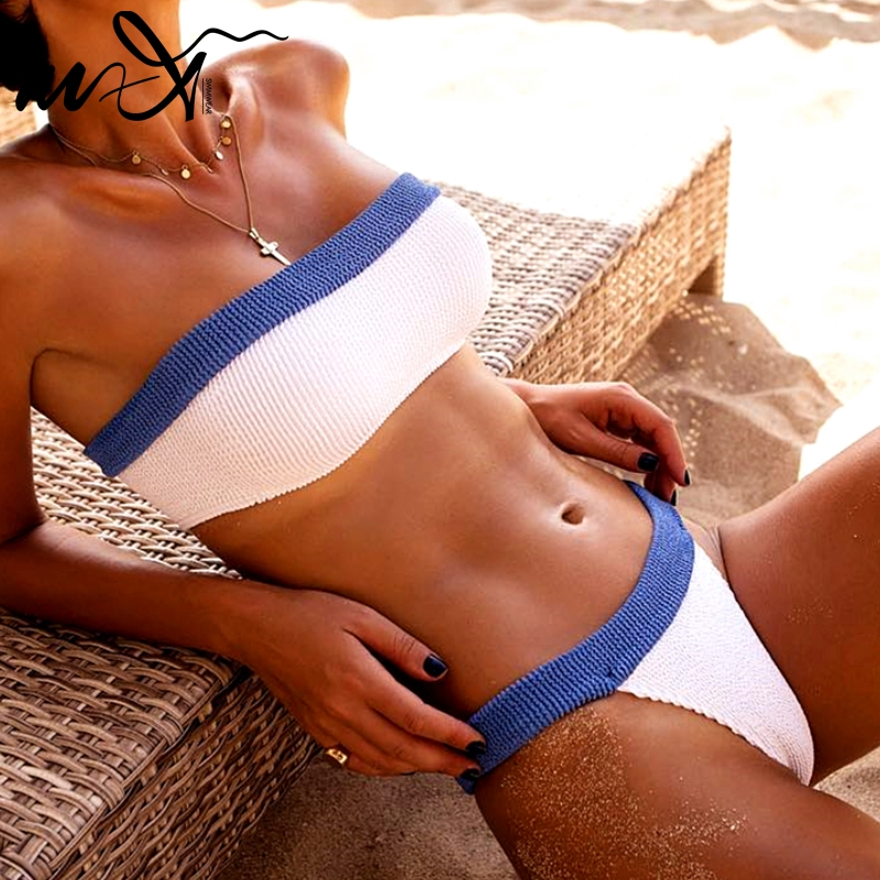 In-X Sexy Thong Bikini Set Ribbed Swimsuit Female Bathing Suit Bandeau Micro Swimwear Women Beach Wear High Cut Biquini 2020 New