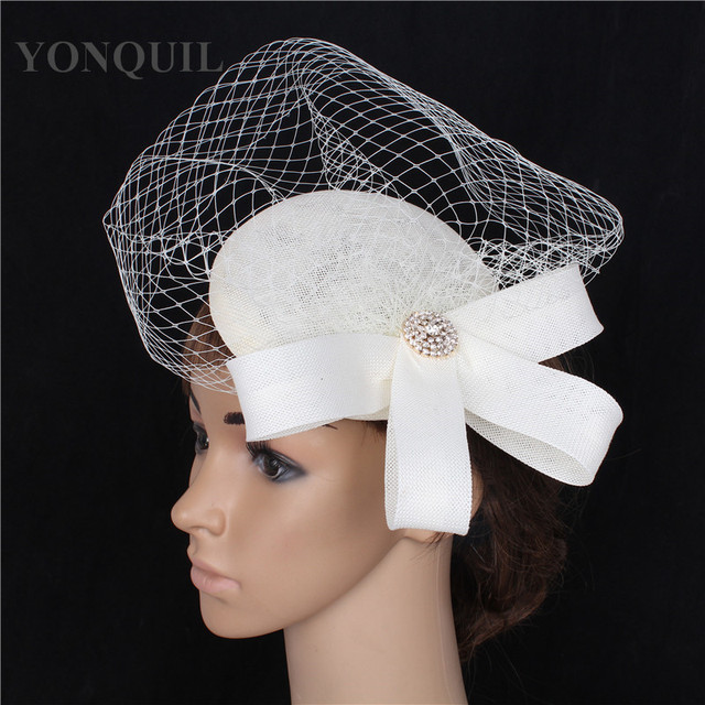 1c1a00f2954 Elegant lady birdcage veil decoration fascinator hat base women wedding DIY  hair accessories imitation linen headdress