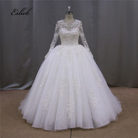 Amazing Pure White Ivory Wedding Dress Full Beaded Lace Appliques Full Sleeves Ball Gown Bridal Dresses Wedding Gown
