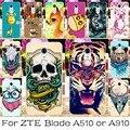 Мягкие Силиконовые Телефон Case Для ZTE Blade A510 A 510 A910 A 910 BA910 BA910t Крышка Красочные Животных Корпус Для ZTE a910 Case