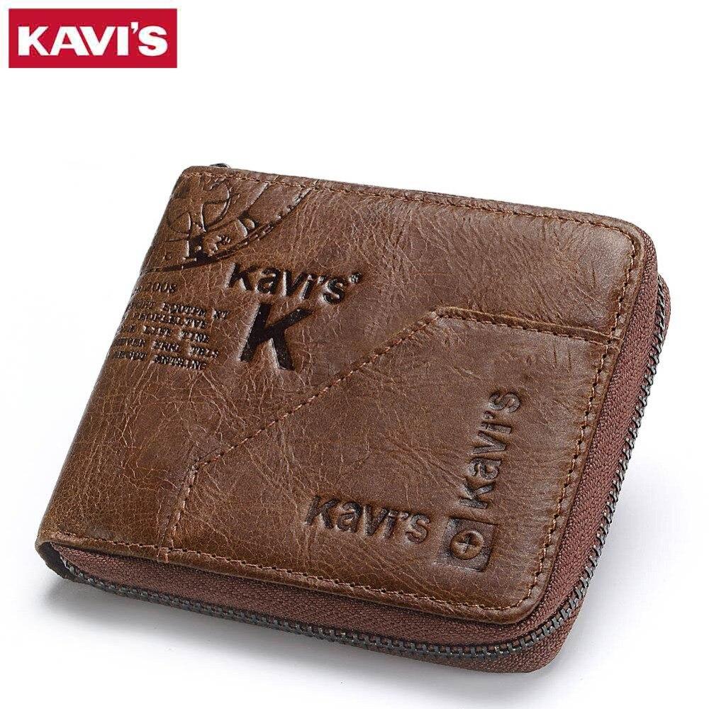 KAVIS 100% Echtem Leder Brieftasche Männer Geldbörse Männlichen Cuzdan Kleine Walet Portomonee Rfid Mini PORTFOLIO Vallet Perse Karte Halter