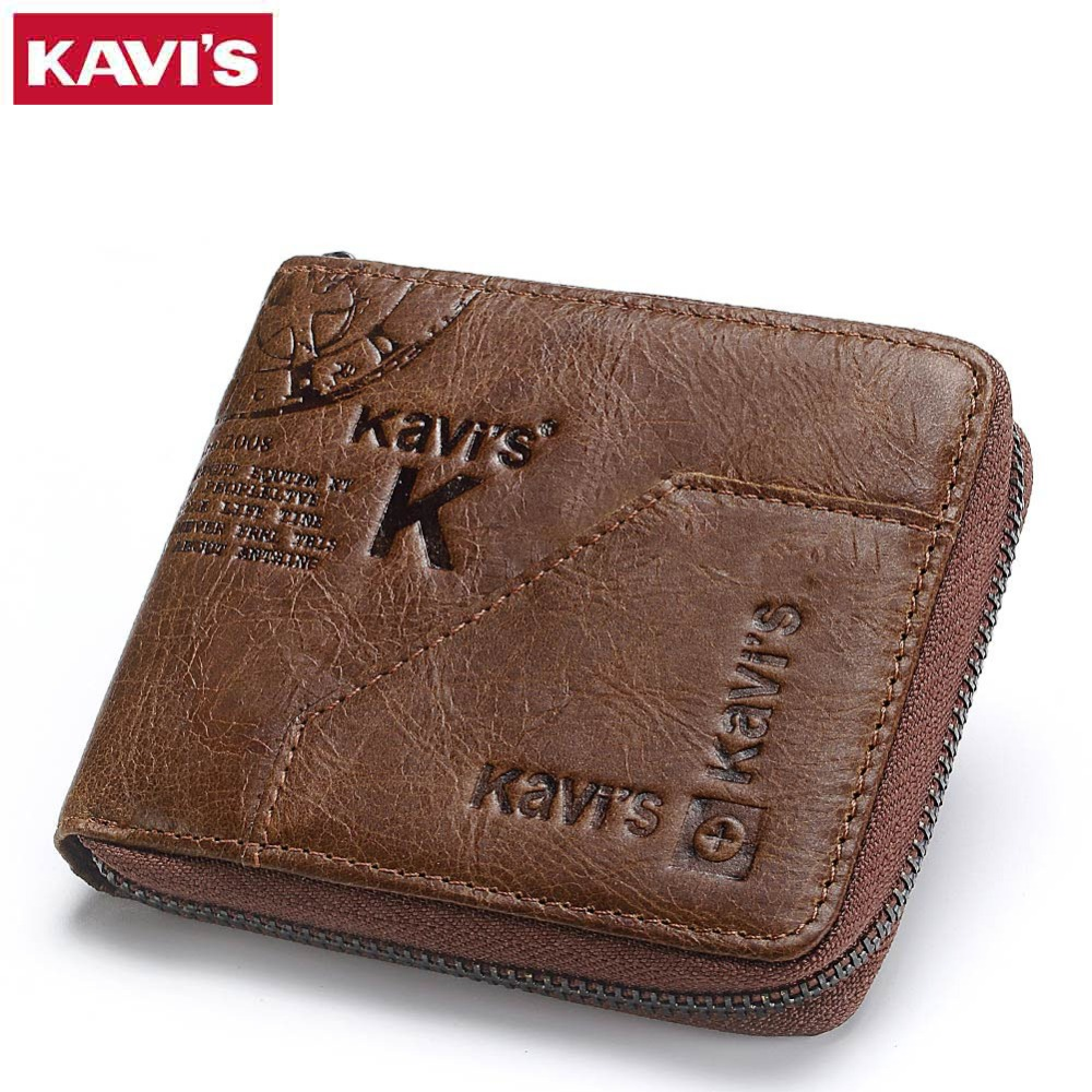 KAVIS 100% Genuine Leather Wallet Men Coin Purse Male Cuzdan Small Walet Portomonee Rfid Mini PORTFOLIO Vallet Perse Card Holder kavis brand crazy horse genuine leather wallet men wallets coin purse with card holder mini male with bag portomonee small walet