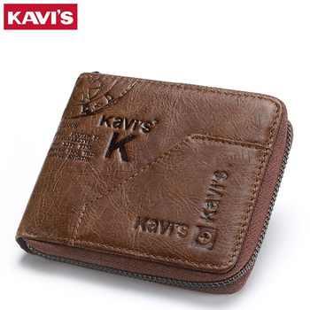 KAVIS 100% Genuine Leather Wallet Men Coin Purse Male Cuzdan Small Walet Portomonee Rfid Mini PORTFOLIO Vallet Perse Card Holder - DISCOUNT ITEM  61% OFF All Category