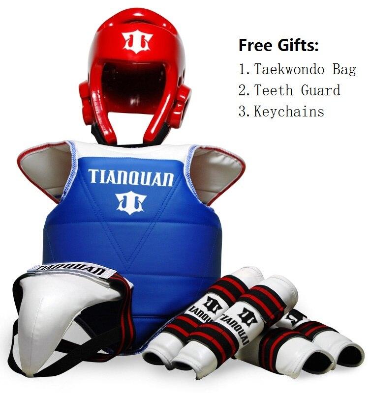 Taekwondo WTF Gear adulte enfants enfant protecteur poitrine garde Tae kwon do karaté casque bras et tibia garde karaté ensemble d'entraînement