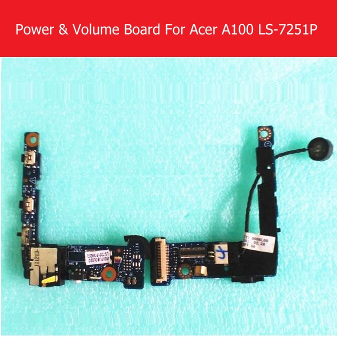 Switch on/off power PCB flex cable For Acer Iconia Tab A100 Ls-7251P volume flex cable with jack port board Tablet replacement replacement audio earphone jack power volume key flex cable for iphone 3gs golden white