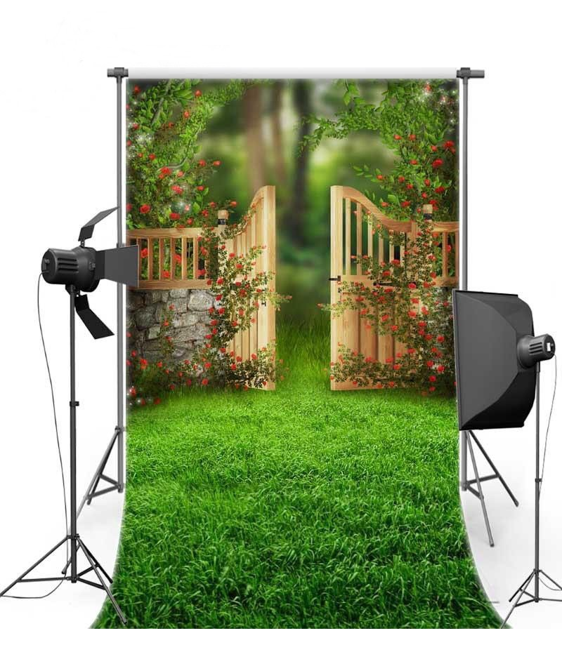 Fairy Tales Garden Green Grass Door Backgrounds Vinyl cloth High quality Computer printed newborn baby photo backdrop english fairy tales