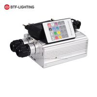 20W LED Fiber Optic Engine Machine Driver Double Head 20key RF Remote White+color wheel,rotational speed,changing patterns