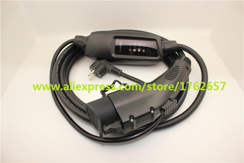 EV Chargeur Duosida Portable EVSE 16A SAE J1772 Type 1 ev prise schuko 2 broches 5 m câble Électrique voiture mode De Charge 2 Dostar