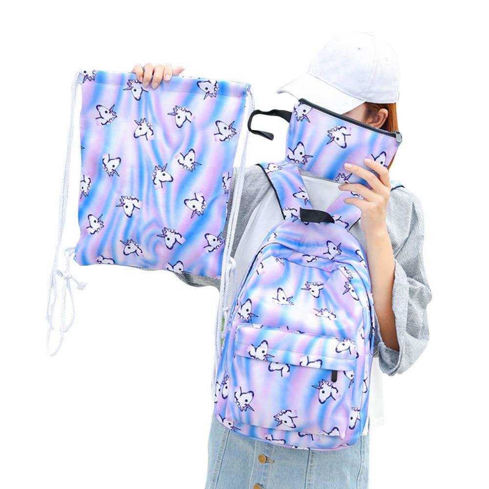 women bags 3 Sets Women Girl Horse Travel Backpack School Bag Nylon Drawstring Bag Drop Shipping bags for women 2017 mochila A8
