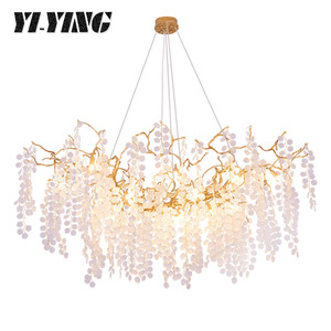 YI-YING легкие Роскошные Кристаллы для столовой люстра креативная спальня пост-современный американский медный дерево корона гостиная R