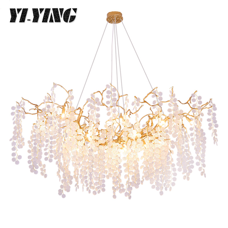 YI-YING Organiclighting European Luxury Glass Dining Room Chandelier Creative Bedroom Post-modern Copper Bedroom Lamp