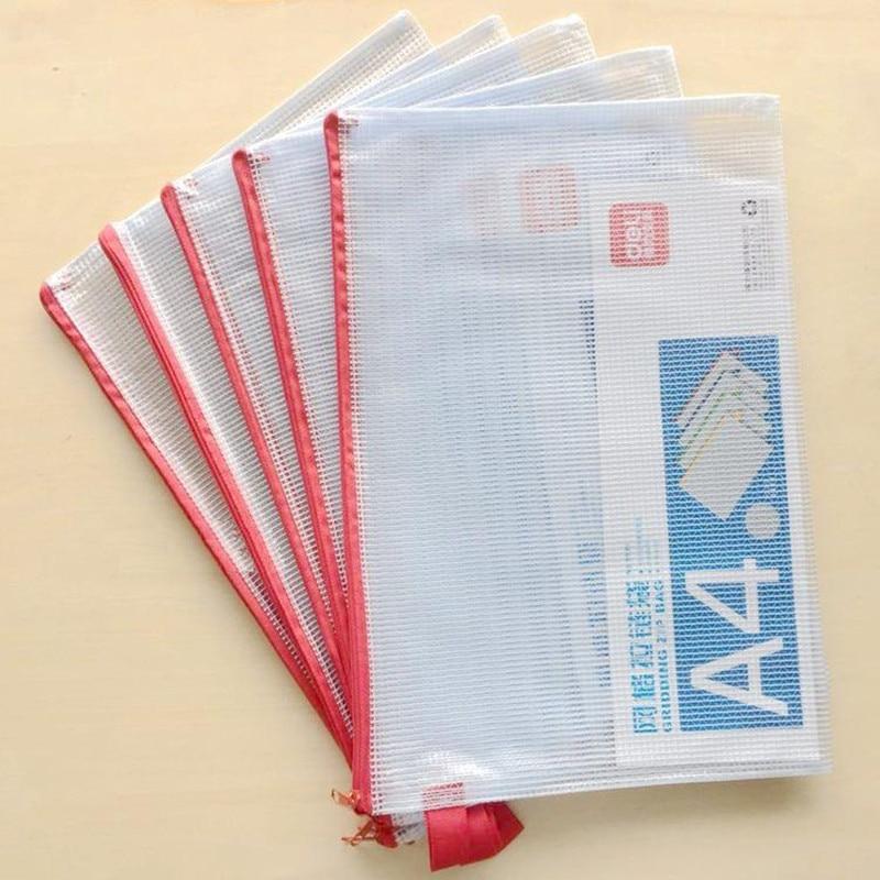 4Pcs PVC Transparent Grinding Zipper Bag A4 Documents Bag Office Business File Paper Storage School Test Exam Paper Deli 5596
