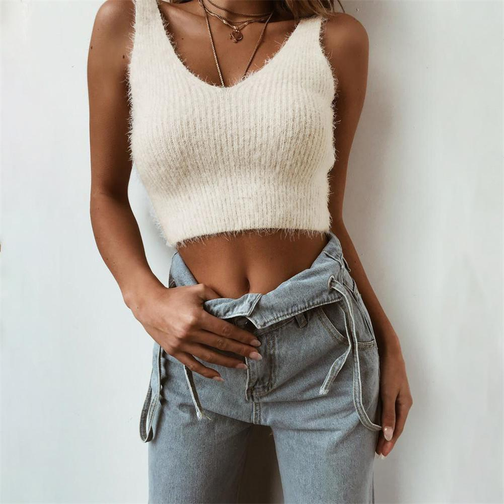 2018 Di Modo Cinghie Backless Crop Top Mohair Sexy Maglione Senza Maniche Serbatoi Top Ropa Mujer Vendite Di Garanzia Della Qualità