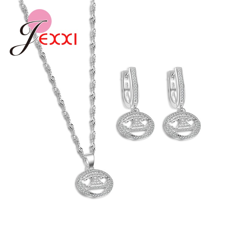 JEXXI Fashion Cute Lovely Expression Smiling Face 925 Sterling Silver Necklace Earrings Set Jewelry Gifts For Women Girls