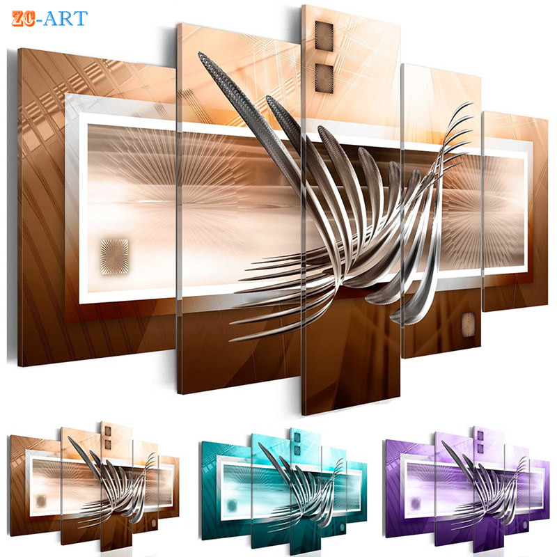 Metal Prints Canvas Art 5 Pieces Abstract Painting Modern