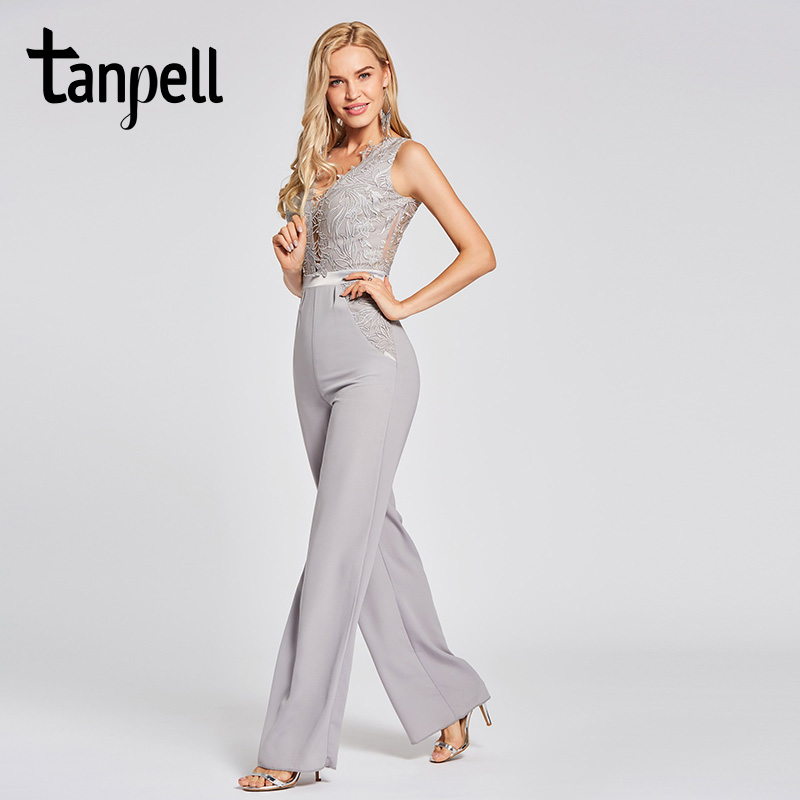 Tanpell lace jumpsuit evening dress silver appliques sleeveless floor length sheath gown women party formal long
