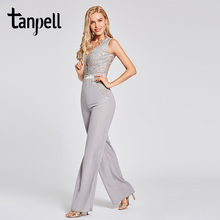 Tanpell lace jumpsuit evening dress silver appliques sleeveless floor length sheath gown women party formal long dresses