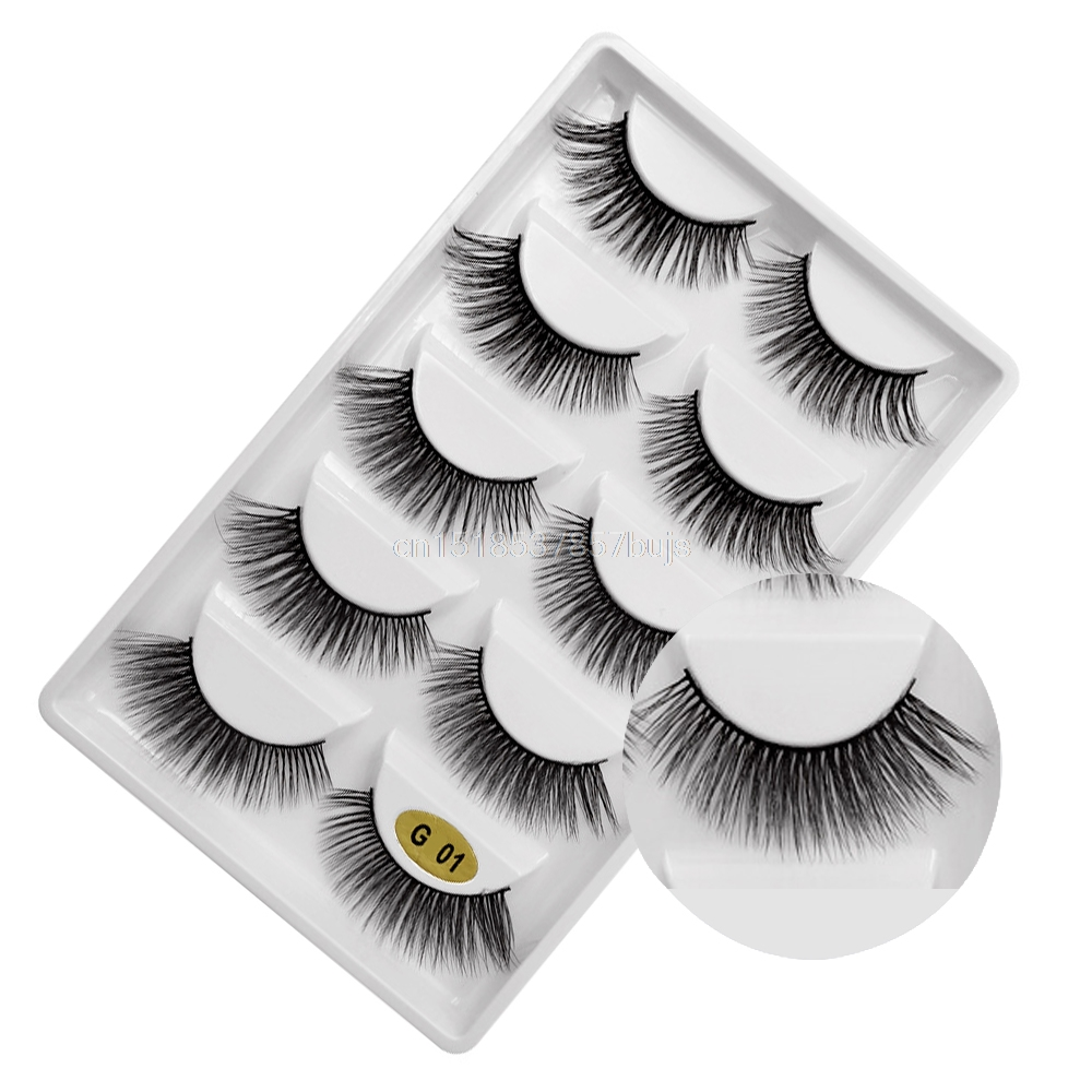 HTB19q8OXOLrK1Rjy1zdq6ynnpXaH New 3D 5 Pairs Mink Eyelashes extension make up natural Long false eyelashes fake eye Lashes mink Makeup wholesale Lashes