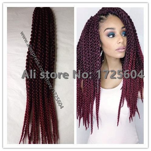 New Style Ombre Burgundy Crochet Braids Hair 3d Split Cubic Twist