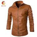 2017 Spring Motorcycle Leather Jacket Men Slim Short Stand Collar Bomber Jacket PU Leather Brown Jacket Faux Fur Casaco De Couro