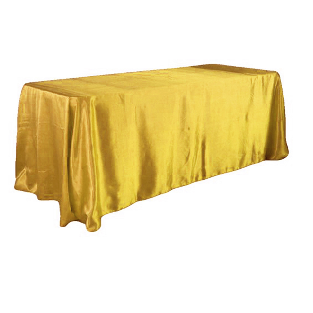 Gold Color 5pcs/ Pack 90 X 132 Inch Rectangular Satin Tablecloth Table  Cover For Wedding