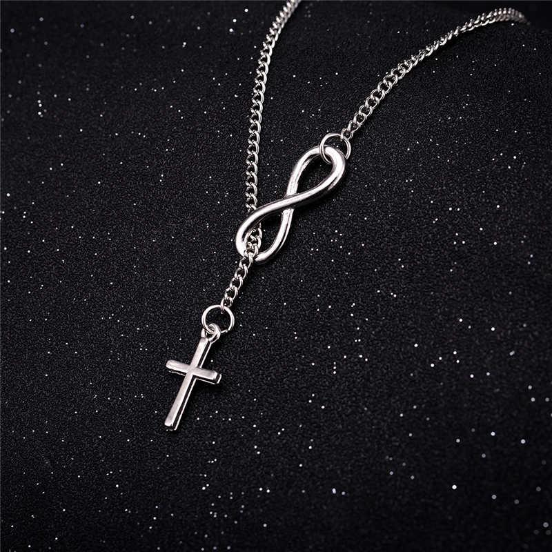 Ailodo moda krzyż wisiorek naszyjniki dla kobiet piękny elegancki nieskończoność długi kolor srebrny łańcuch Party bankiet biżuteria prezent LD031