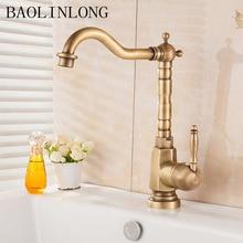 BAOLINLONG античная латунь Смесители для ванной бассейна кран палубного крепления раковины водопроводный кран смеситель кран