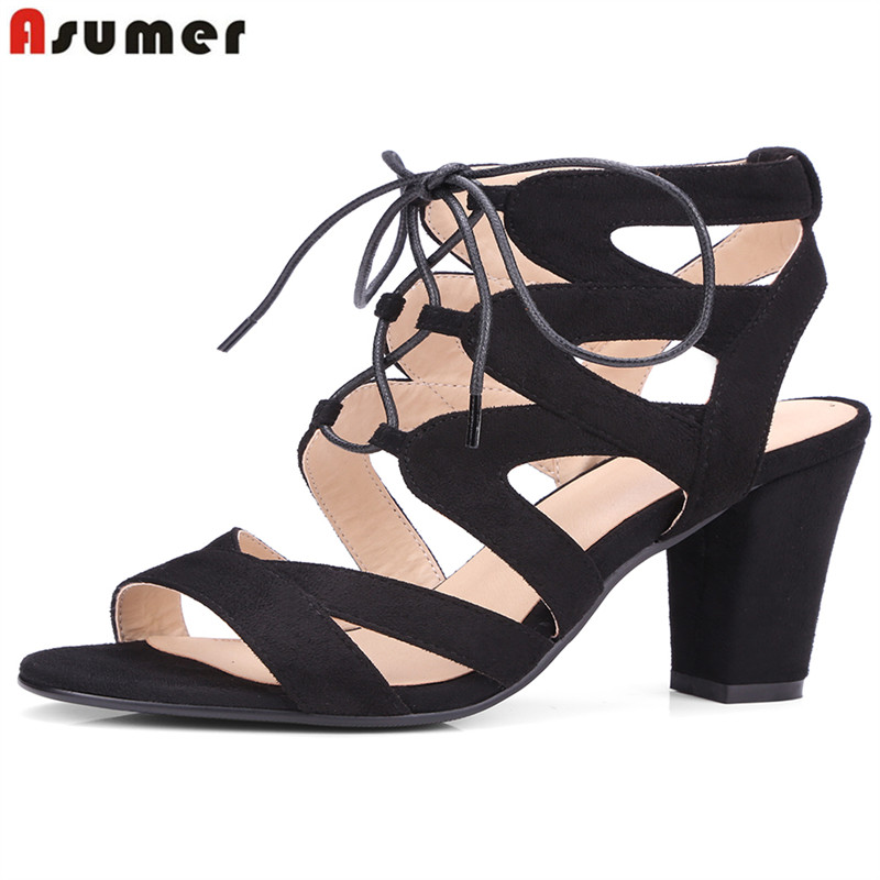 Asumer size 34-43 new high quality thick high heels women sandals flock solid color summer ladies party wedding shoes woman new 2017 spring summer women shoes pointed toe high quality brand fashion womens flats ladies plus size 41 sweet flock t179