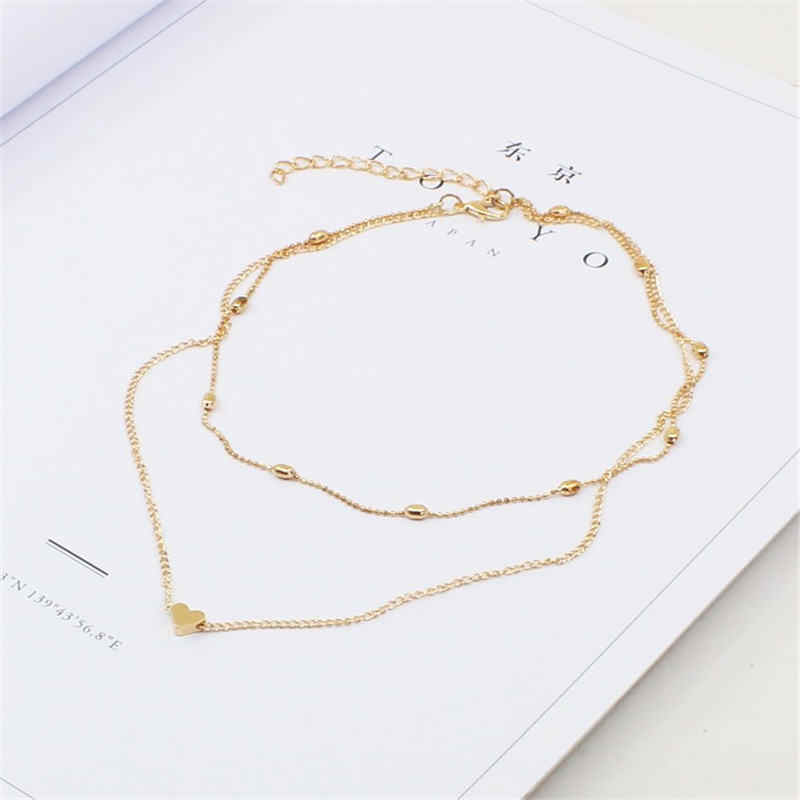 M MISM Trendy Multi Layer Little Heart Necklace Women Girls Sweet Jewelry Accessories Female Chain Choker Necklaces double 11