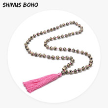 SHINUSBOHO Matte Frosted Amazon Bead Necklace Men Tassel Pendant Picture  Stone Knotted Women Long Charm Necklace Wedding Gift e6cc0febff5b