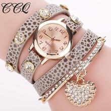 CCQ Moda Coração Pingente de Relógio Pulseira de Couro Relógios de Pulso Das Senhoras Vestido Das Mulheres Relógio de Quartzo Relogio feminino Relógio 713