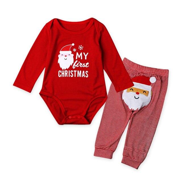 7b5917674f Navidad recién nacido bebé mamelucos de manga larga + Pantalones de dibujos  animados Papá Noel bebé