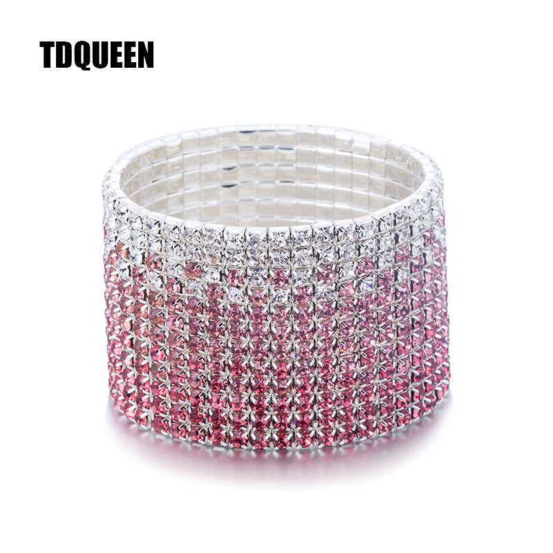 New Arrival 12 Rows Crystal Bangles Bracelet for Women Silver Plated Pink and Clear Crystal Wedding Bracelet Bride Bangle