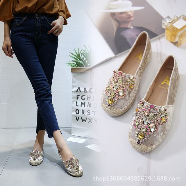 f693ec41d 2018 Spring Autumn fashion flat shoes Espadrilles femme Shoes rhinestone  Round Toe FOOTWEAR FOR WOMEN Woman
