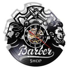 Винтажный парикмахерский салонный винил для волос запись настенные часы аксессуары для волос мужской парикмахер бизнес знак стена