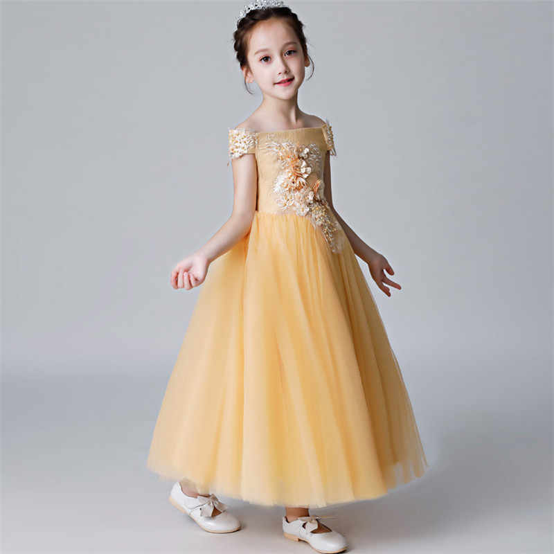 0f7ea3e53fa ... Children Girl Luxury Shoulderless Golden Birthday Wedding Party  Appliques Flowers Princess Lace Dress Baby Kids Host ...