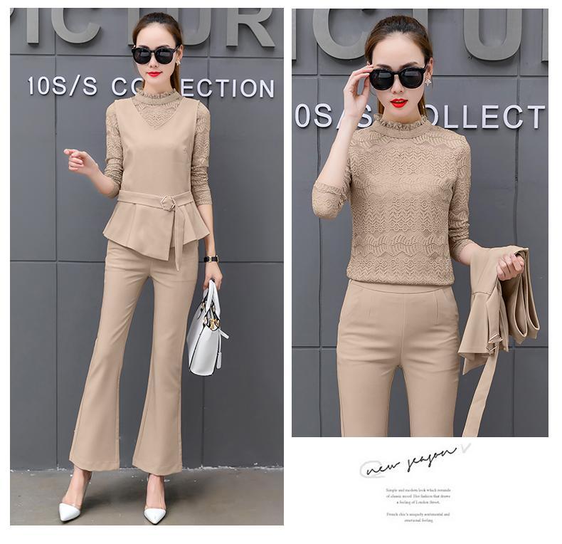 Women Pant Suits Bandage vest hollow out lace Sets Work Wear 3 Pieces Set Lapel vestt and Pant Uniform Style Outfits 25