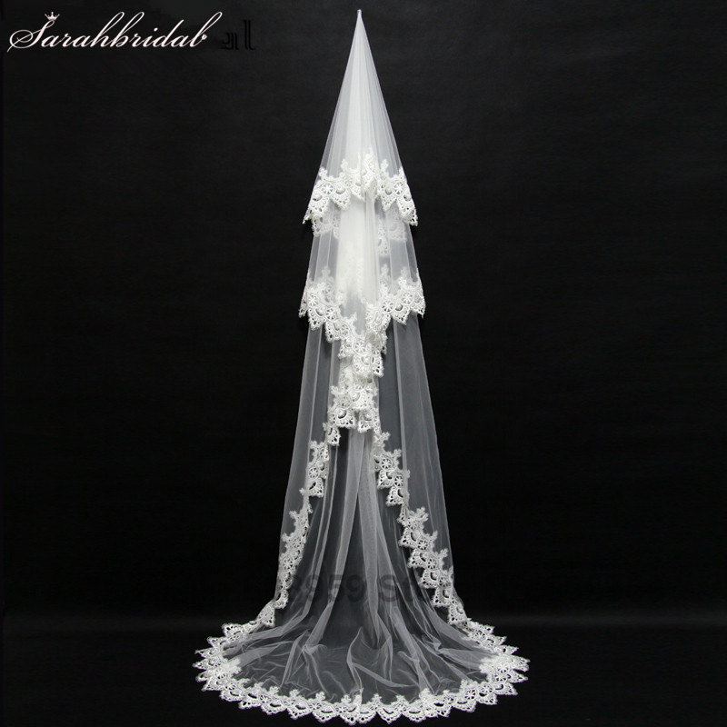 2017 New Bridal Veil Voile Mariage Long Lace Edge Wedding Acessories Wedding Veil Velos de Novia Cathedral Wedding Veil 11047