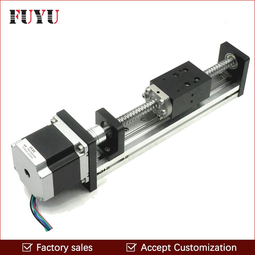 Livraison gratuite 50mm course CNC motorisé mouvement glissière vis à billes étape Guide linéaire actionneur Rail G1605 vis à billes Nema 23 Rail