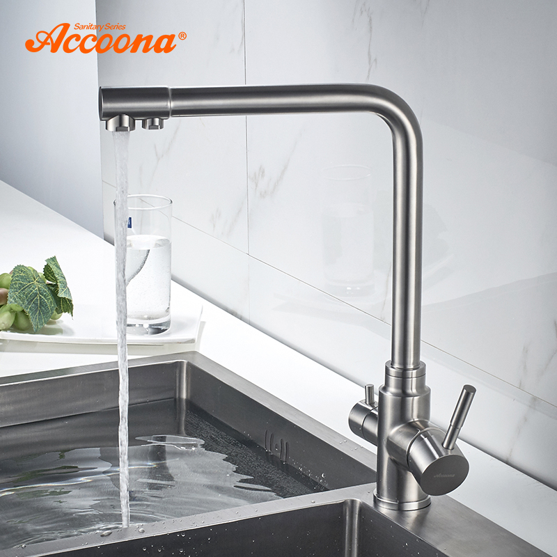 Accoona Kitchen Faucet New Stainless Steel 304 Mixers Sink Tap Wall Faucet Modern Hot and Cold Water Kitchen Tap A5179-5 монитор lenovo thinkvision t22v 10 61bbmat6eu